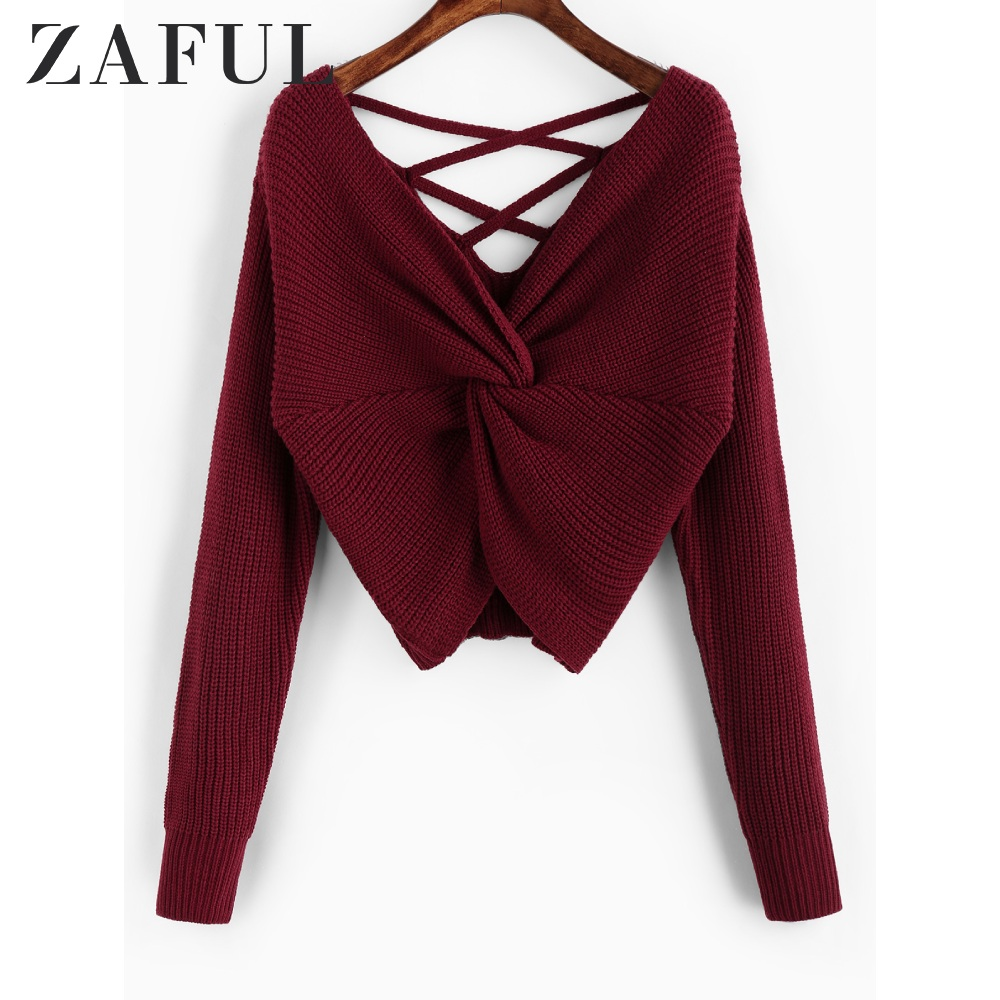 ZAFUL Twisted Criss Cross Drop Shoulder Sweater Solid Plunging Neck Women Sweater Night Out Sexy Loose Short Pullover Sweater