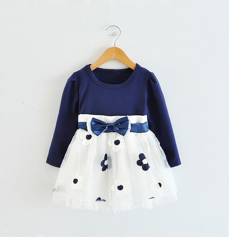 Коллекция года, зимнее платье с длинными рукавами для маленьких девочек, платье на крестины, день рождения, возраст от 0 до 2 лет, платье для новорожденных повседневная одежда для детей повседневная одежда - Цвет: Blue dress