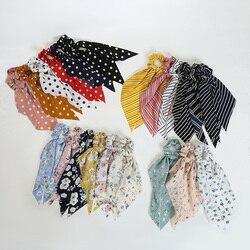 Fashion Dot Stripe Floral Print Scrunchie Bow Streamers Hair Ties Elegant Sweet Women Ponytail Hair Rope Girls Hair Accessories