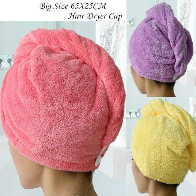 25x65cm Women Bath Cap Super Absorbent Quick-drying Microfiber Hair Dry Cap Salon Showl Gel Tool Accessorie Bath & Shower