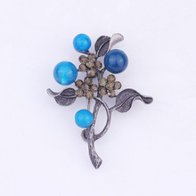 Hot Sales Accessories Branch with Gemstone Brooch Flower WOMEN'S Sweater Corsage Scarf Brooches for Female Jewelry Accessories
