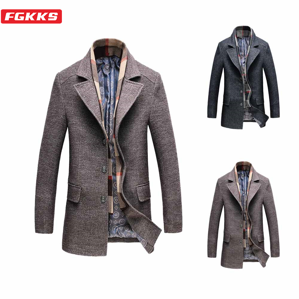 FGKKS Winter New Men Wool Coats Quality Brand Men's Fashion Warm Thick Overcoat With Scarf Casual Wool Blend Coat Male