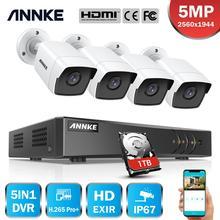 Annke 8CH 5MP Ultra Hd Cctv Camera Systeem 5IN1 H.265 + 5MP Lite Dvr Met 4 Stuks 5MP Tvi Weerbestendig security Surveillance Systeem