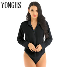 Sexy Bodysuit Womens Lingerie Long-Sleeve One-Piece Work Shirt Button-Down Easy-Care
