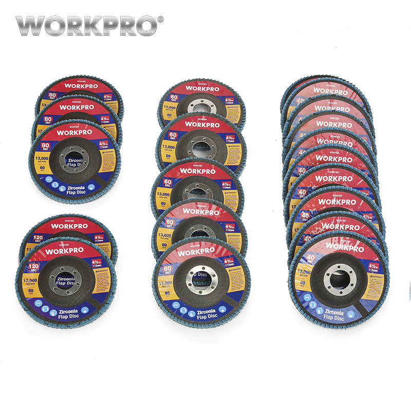 WORKPRO 20PC Flap Discs Sanding Discs Set Multi Grit Flap Disc Set For Angle Grinder