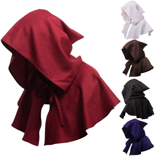 Adults Hooded Cloak Gothic Cosplay Vampire Devil Capes Unisex Halloween Party Costume Medieval Witch Wizard Fancy Punk Cloak Hot