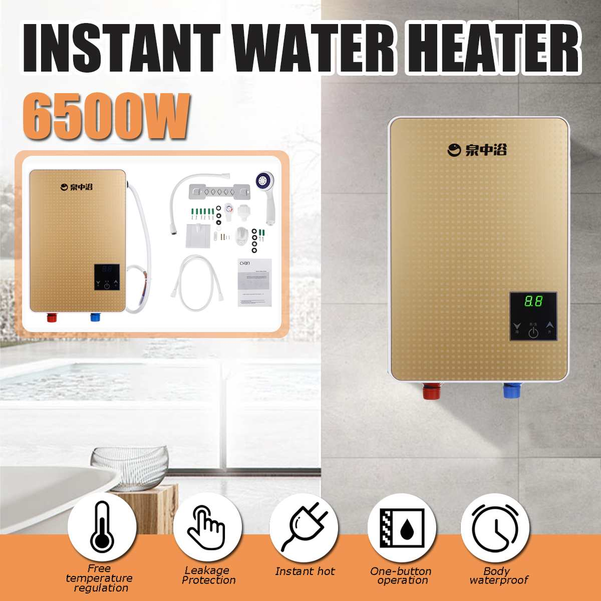 3s  Hot 6500W 220V Electric Hot Water  Tankless  Boiler Bathroom Shower Set Thermostat Safe Intelligent Auto