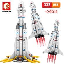 Sembo 322 pièces Compatible ville transporteur lancement véhicule technique astronaute la terre errant blocs de construction jouets pour les garçons
