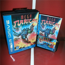 Mega Turrican EU Cover with Box and Manual For Sega Megadrive Genesis Video Game Console 16 bit MD card