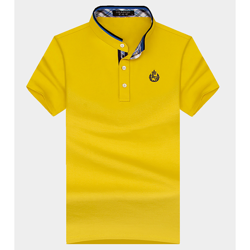 Small Stand-Up Collar Golf Short-Sleeved T-Shirt Summer Men  Loose Large Size Solid Color Cotton Half-Sleeved Golf Men  T-Shirt