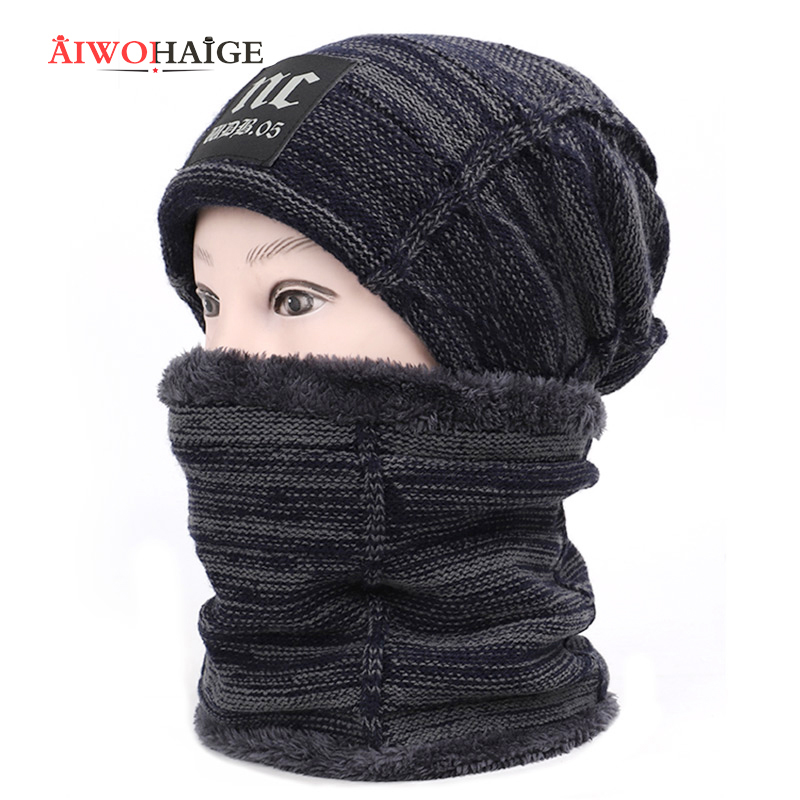 2019 New 2 Pieces Set Thicken Hedging Cap NC Sign Men Women Knitted Wool Hat Casual Bonnet Plusign Spring Autumn Winter Beanie