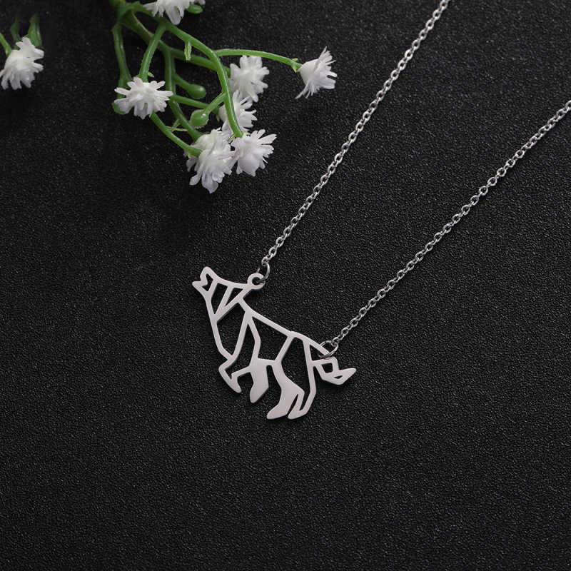 Acier inoxydable loup collier Animal pendentif creux collier Origami ligne collier
