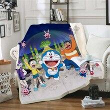 Kids Anime Doraemon NobiNobita Kawaii 3D Blanket Fleece Cartoon Print Children Warm Bed Throw Blanket newborn bayby Blanket  016