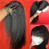 Peluca recta rizada brasileña para mujer, cabello humano con encaje frontal 13x4, peluca con malla frontal, cabello Remy grueso Yaki, densidad 150%