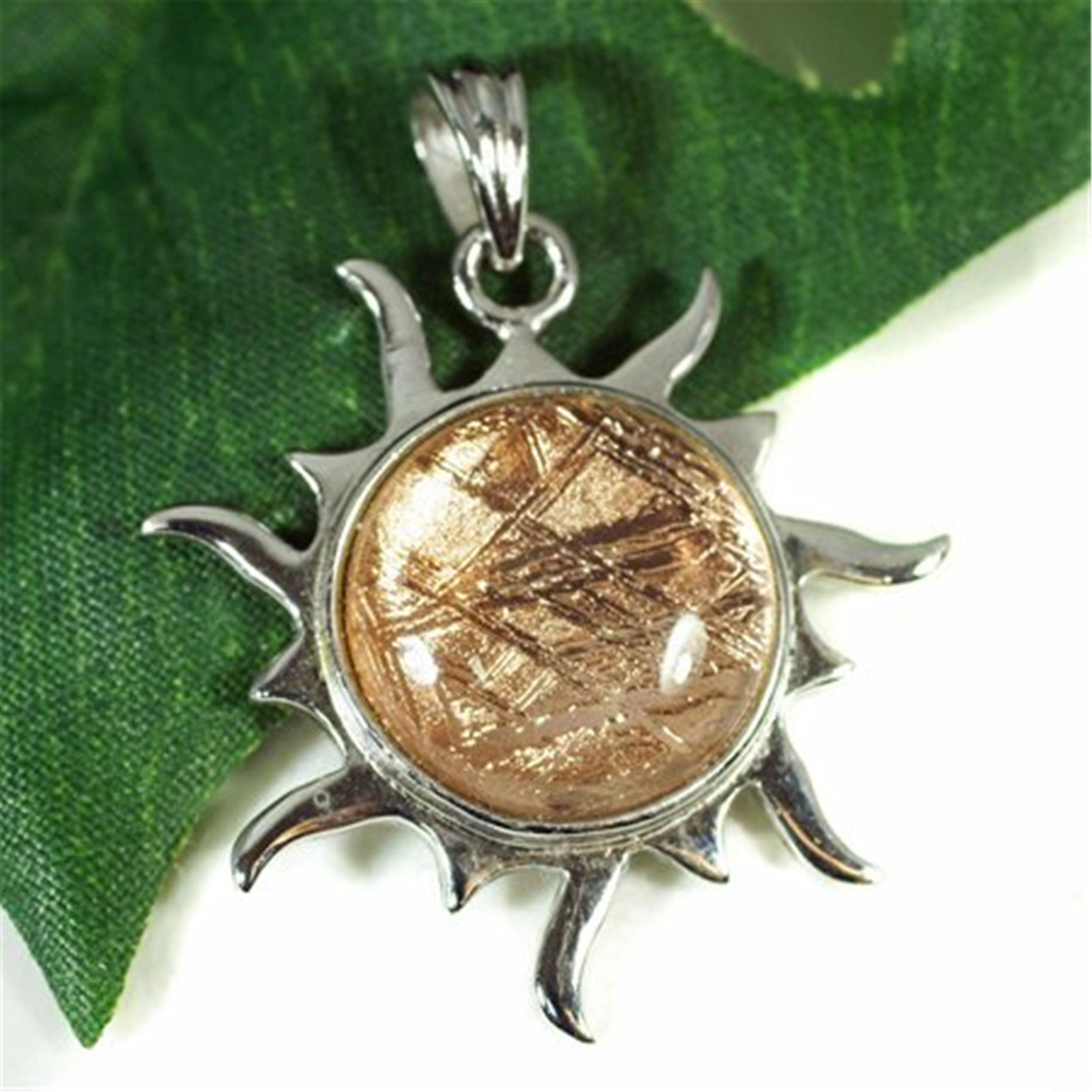 Genuine Natural Gibeon Iron Meteorite Sun Shape Moldavite Rose Gold Women Men Jewelry 30x30x6mm Charm Necklace Jewelry Pendant