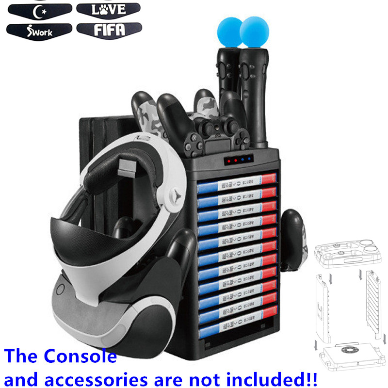 For Playstation 4 PS4 Pro Slim PS Move PS VR Collection Vertical Stand,Charging Dock,Cooling Fan,Hook,Game Discs Storage Tower image