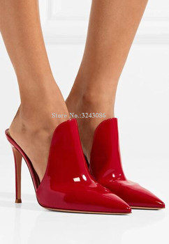 Red Color Patent Leather Woman Slippers Sexy Pointed Toe Black Stiletto Heels Sandals Classical Design Large Size Runway Shoes