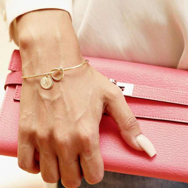 A-Z 26 letras nudo inicial pulseras brazaletes pulsera encanto inicial chicas amor brazaletes personalizados para mujeres joyería Pulseiras