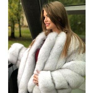 Image 4 - موضة الثعلب معطف الفرو الحقيقي سميكة الدافئة الأزرق الثعلب المرأة معاطف 2020 شتاء كامل الجلد الطبيعي فرو سترات معاطف فاخرة حقيقية