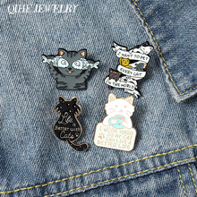 QIHE biżuteria koty sprawiają, że życie lepsze szpilki emaliowane słodkie zwierzaki broszki modne odznaki Pin prezenty na nowy rok dla przyjaciół hurtowych