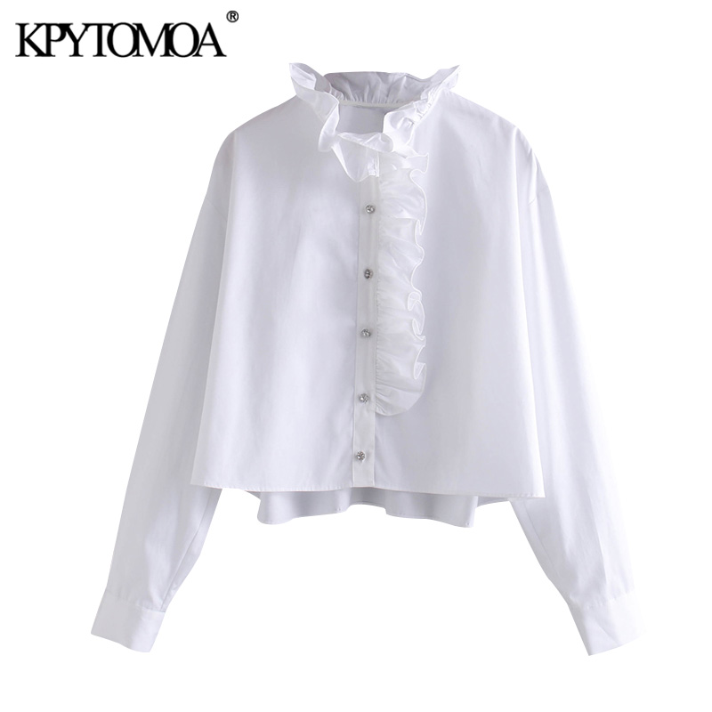 Vintage Sweet Jewelled Buttons Ruffles Blouses Women 2020 Fashion High Collar Long Sleeve Female Shirts Blusas Chic Tops