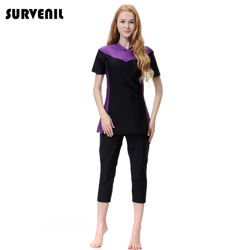 Modest Swimming Suit Women Mid-long Muslim Swimwear Short Sleeves Islamic Swimsuit 3 Pieces Beach Wear Burkinis Plus Size 3XL