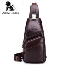LAOSHIZI Brand Sling Chest Pack Genuine Leather Crossbody Shoulder Bag Men Cowhide Messenger Bags Zipper Casual