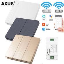 AXUS Tuya Wall Smart Life APP WiFi Push Switch Light 1/2/3 Gang RF 433Mhz push Button DIY Relay Timer Module Google Home Alexa