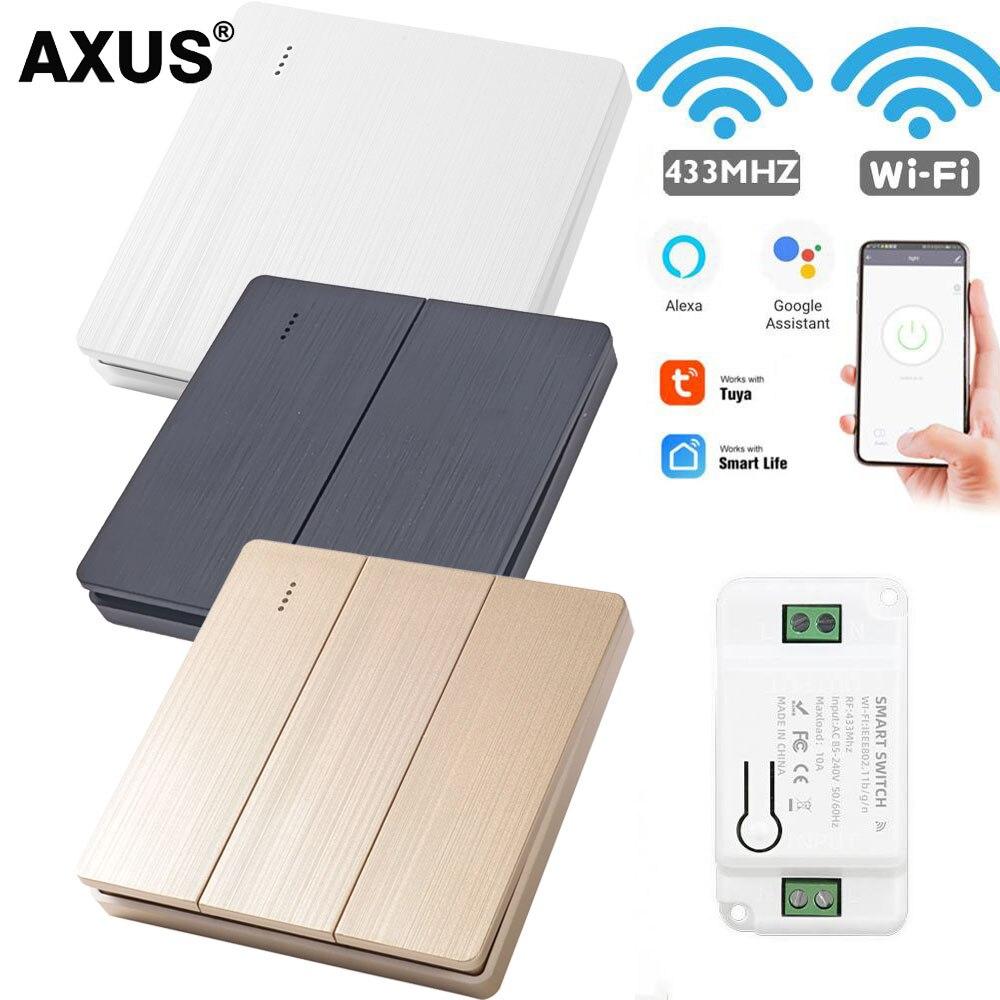 AXUS Tuya Wand Smart Leben APP WiFi Push-Schalter Licht 1/2/3 Gang RF 433Mhz push-Taste DIY Relais Timer modul Google Home Alexa