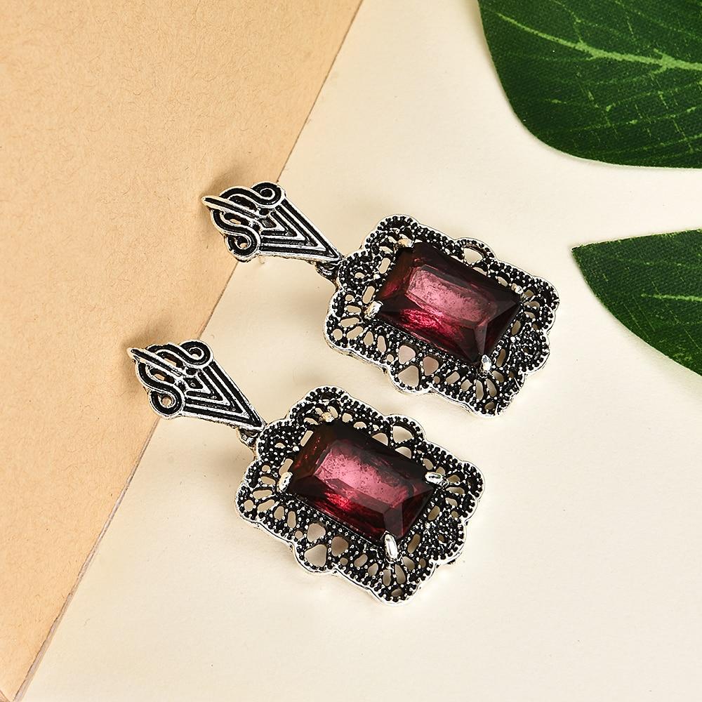 Модные женские серьги в стиле панк с красным кристаллом и стразами в стиле ретро, винтажные вечерние серебряные серьги с металлической подвеской, ювелирные изделия из меди