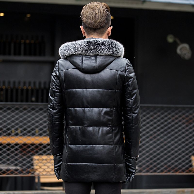 Men Real Sheepskin Leather Jacket Winter Natural Fox Fur Long Coat Mens Genuine Leather Duck Down Jacket 17317 LX2358