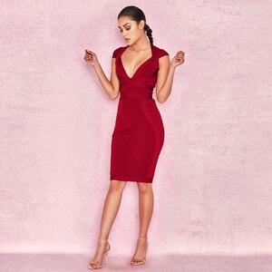 Image 4 - 새로운 여름 여성 드레스 V 목 스트라이프 붕대 드레스 섹시한 Bodycon 우아한 연예인 파티 와인 레드 드레스 클럽 연회 Vestidos