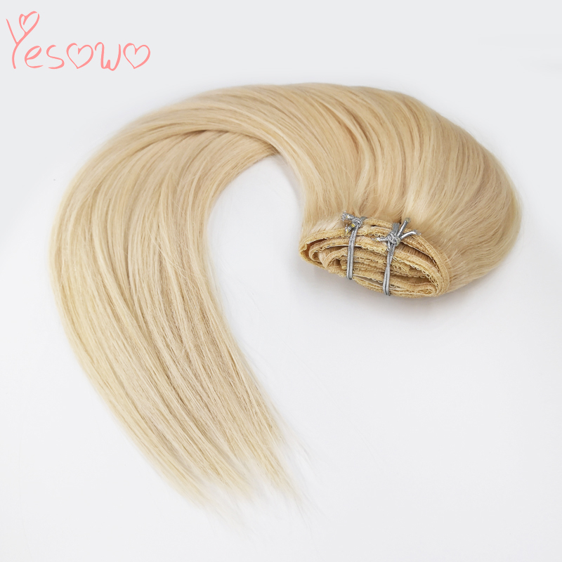 Yesowo Blond Human Hair Extensions 7PCS 100g 120g 160g Top Quality Cheap 100% Remy Straight Hair Clip Ins For White Women