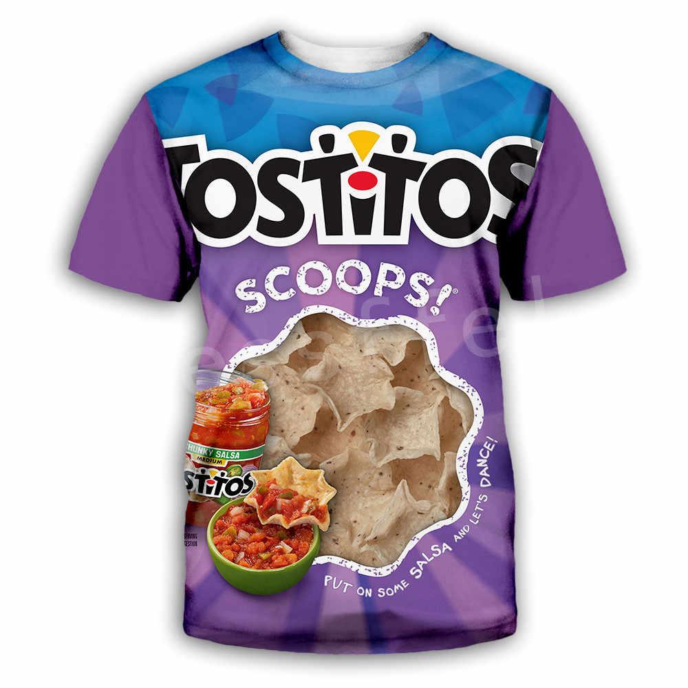 Tessffel Kartoffel chips Snacks tasche Lustige Lebensmittel Casual 3DPrint Herren/Frauen NewFashion Sommer Streetwear T T-shirt kurzarm d-1