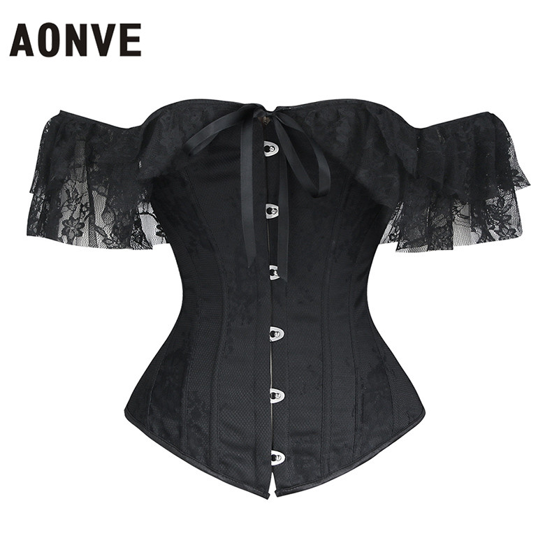 Aonve Women Lace   Corset   Top Goth Black Sexy   Bustier     Corsets   White Lace Wedding Clothing Korset Off Shoulder   Corset   Top S-2XL