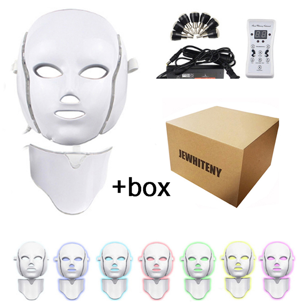Led Mask Photon Therapy Electric LED Facial Mask 7 Colors Led Skin Rejuvenation Anti Wrinkle Acne Whitening Face Care Tool