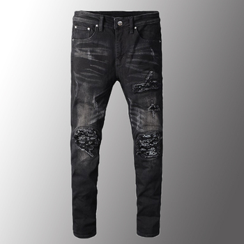 New Men Jeans Luxury Mens Black Bandanna Paisley Printed Patchwork Biker Jeans Slim Skinny Pleated Stretch Denim Ripped Pants