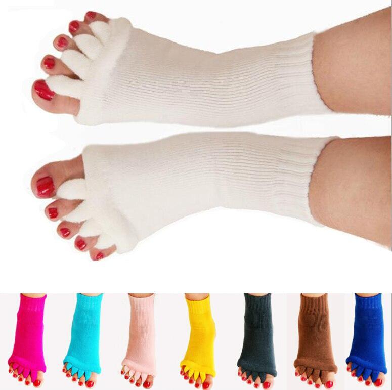New 1 Pair Massage Five Toe Separator Socks Foot Alignment Relief Meias calzini