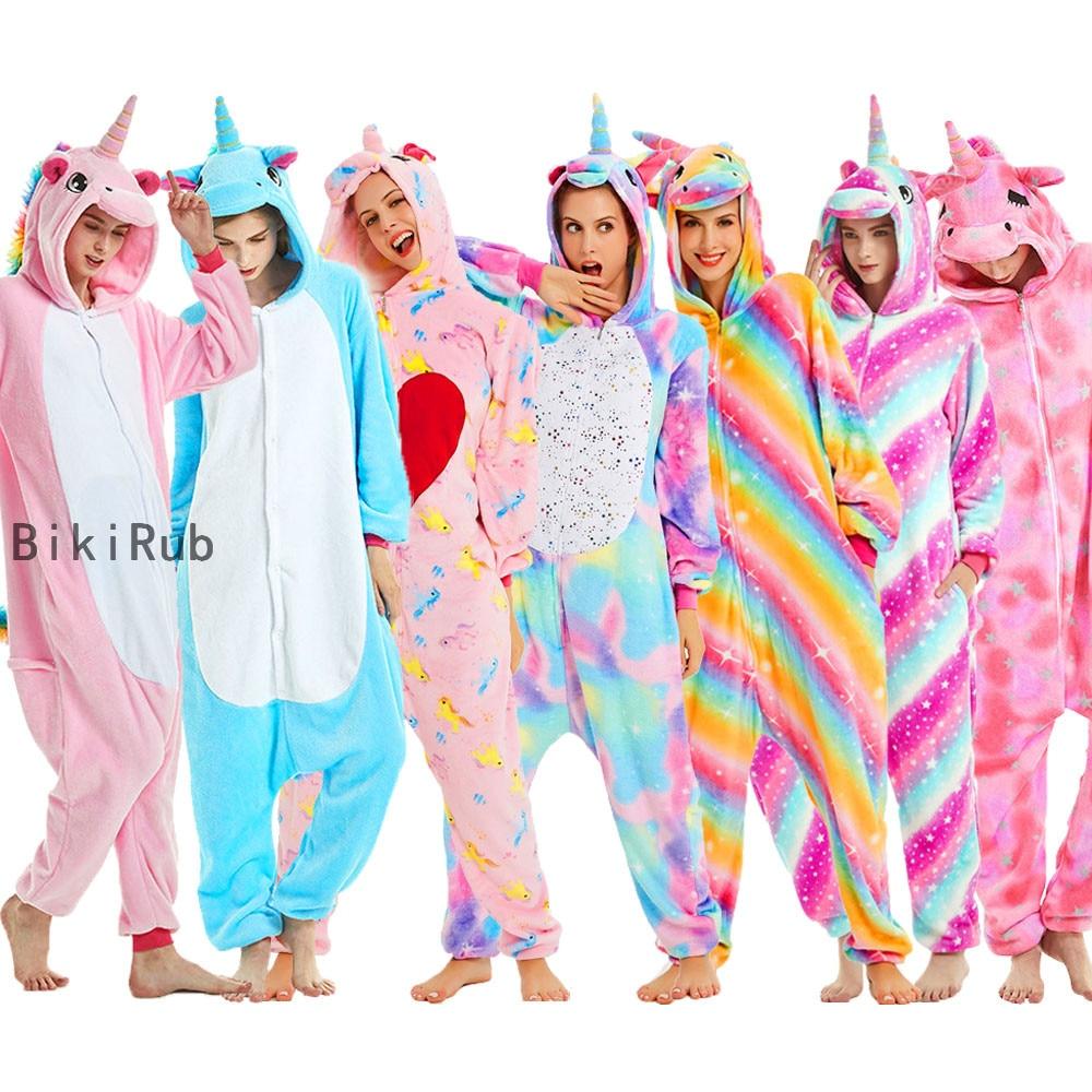BIKIRUB Adults Pajamas Women Flannel Sleepwear Unisex Kigurumi Cute Unicorn Stitch Cartoon Animal Pajama Set Kids Hooded Pyjamas