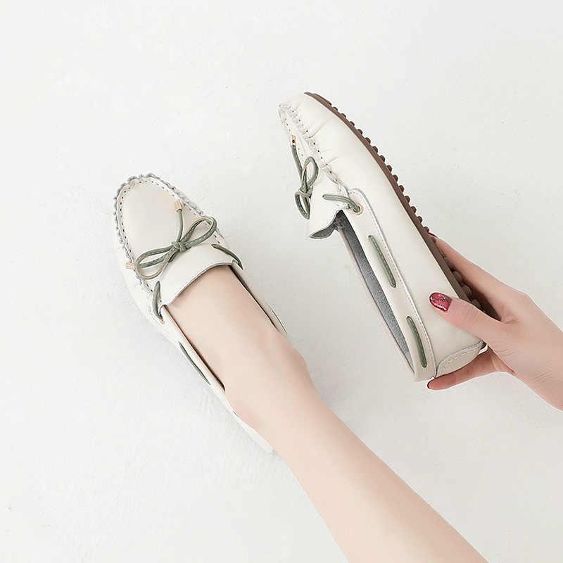 2020 ใหม่รองเท้าผู้หญิง Beige หนังแท้สตรีรองเท้าสบายรองเท้าแตะ Loafers ฤดูใบไม้ผลิหญิงรองเท้าแตะรองเท้า