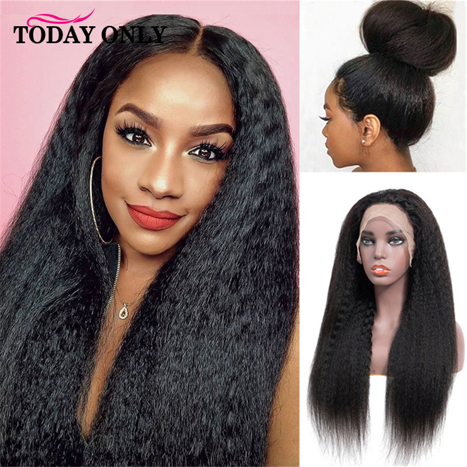 TODAY ONLY Peruvian Kinky Straight Wig 180 Density Lace Front Human Hair Wigs For Black Women 13x6 Lace Front Wig 8-26inch Remy