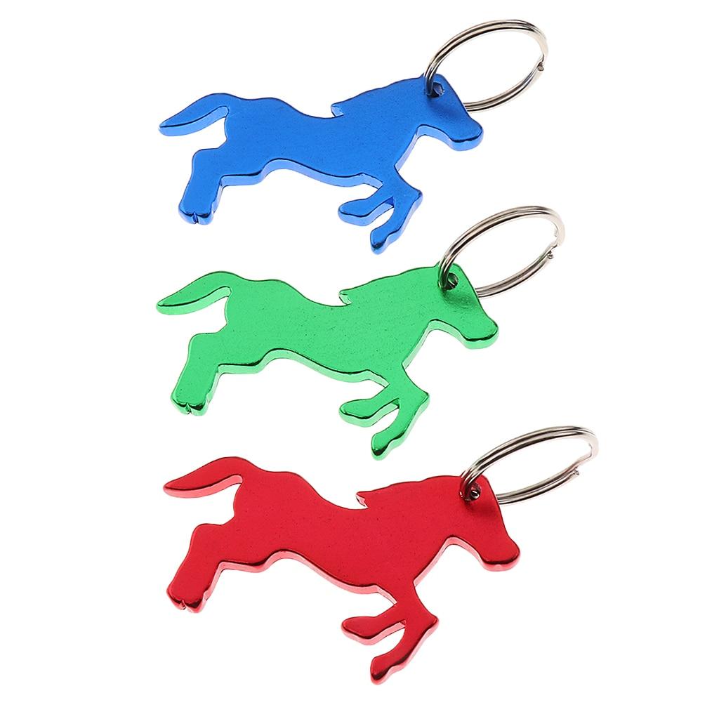 3 Pieces Aluminum Horse Pattern Bottle Opener Keyring Keychain Bag Pendent