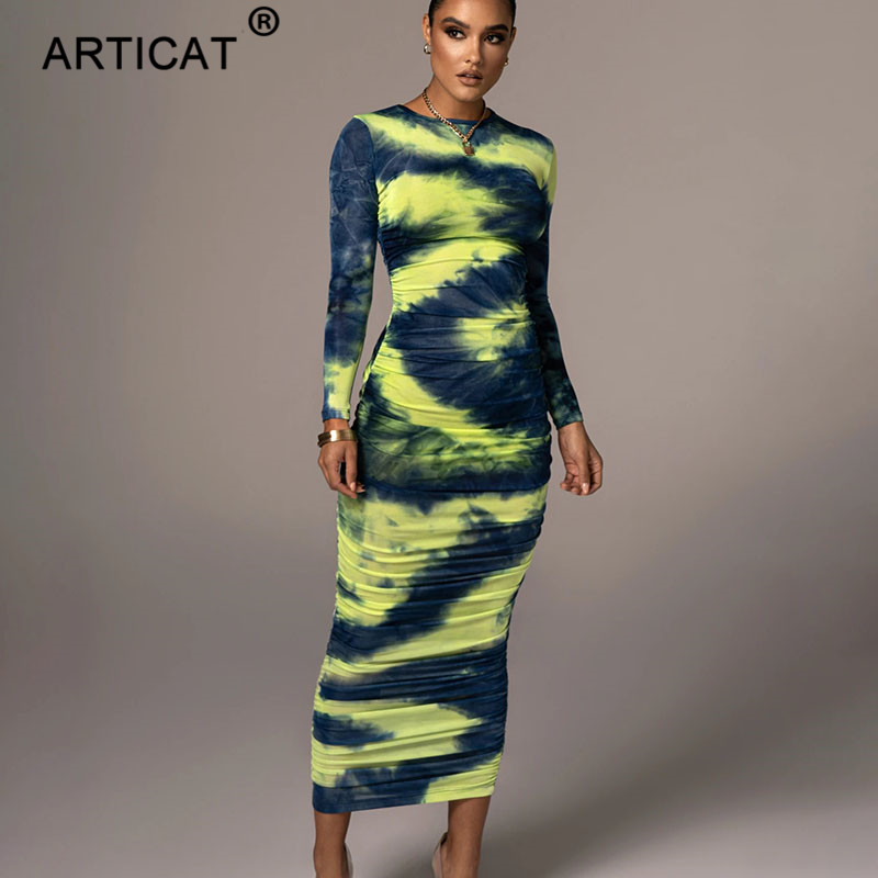Articat Tie-Dye Print Ruched Christmas Dress For Women Long Sleeve Sexy Bodycon Winter Dress Elastic Pleated Casual Party Dress 8