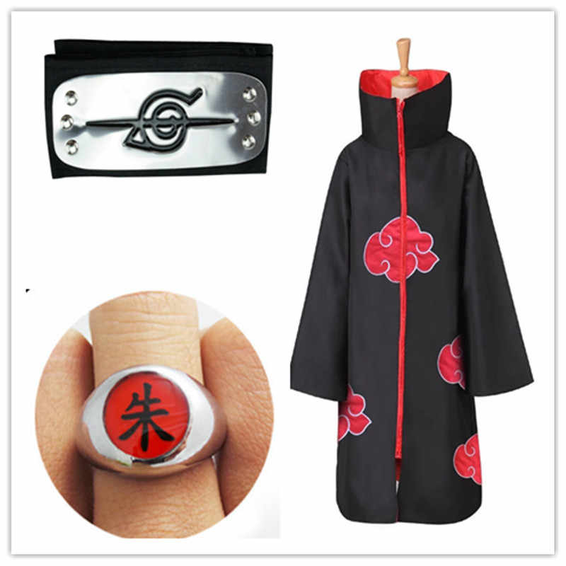 Anime Naruto Cosplay Costume Akatsuki Cloak Naruto Uchiha Itachi Cape Anime Cosplay Costume S-XXL