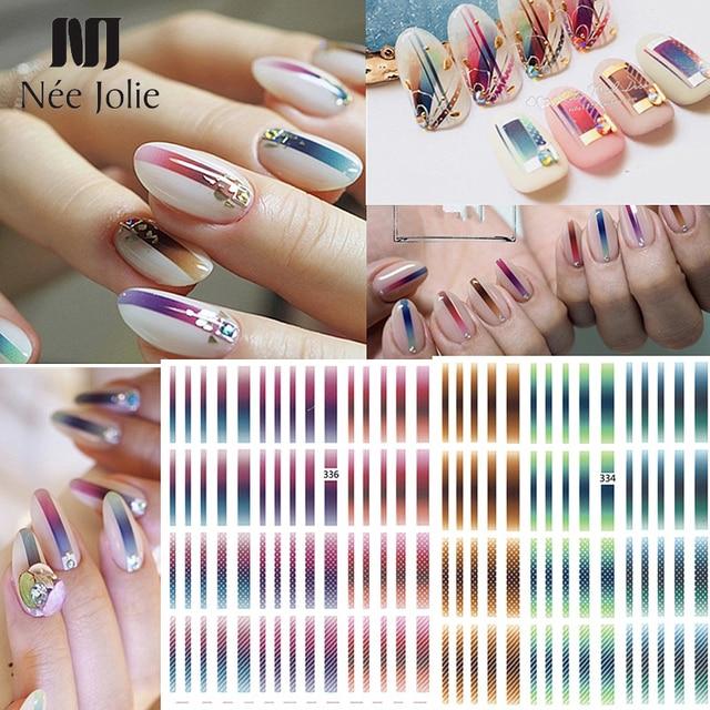 1 sheet Gradient Nail Striping Tape Colorful Lines 3D Nail Polish Stickers Adhesive Nails Strips DIY For Nail Art Decorations