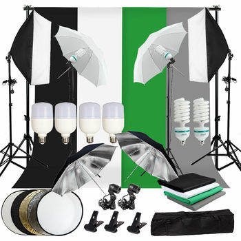 ZUOCHEN Photo Studio LED Softbox Umbrella Lighting Kit Background Support Stand Backdrop