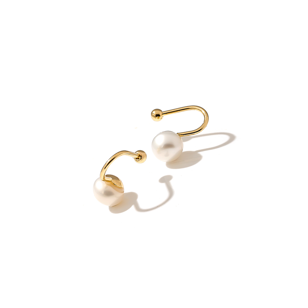 Yhpup Korean Minimalist Ear Accessories Copper Natural Pearls Gold Earrings for Women Office Party Jewelry Christmas Gift New