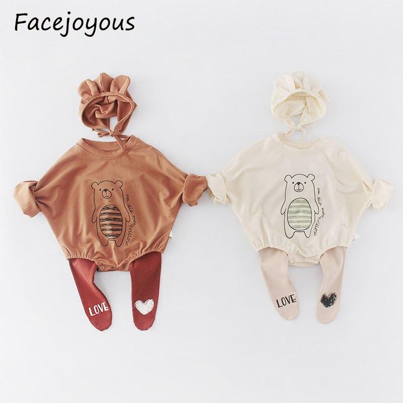 2020 Spring Baby Bear Little Print Long Sleeve Bodysuit Baby Girl Bodysuit Infant Jumpsuit With Hat Girls Boy Clothing Set 0-2T