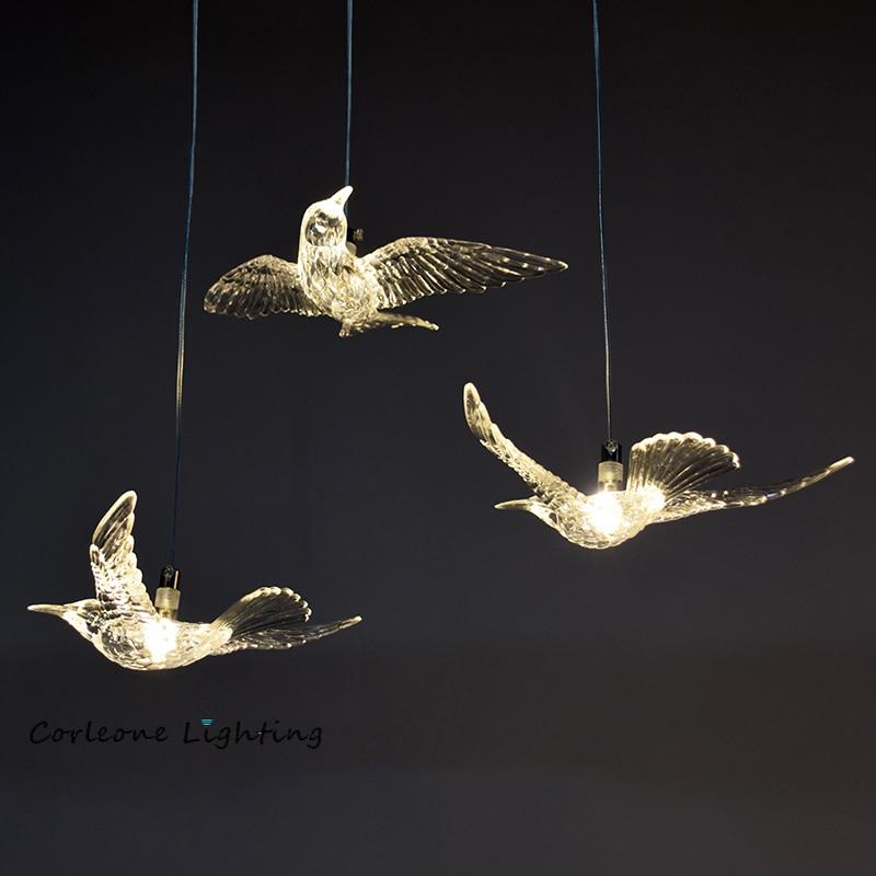 Nordic led pássaro lâmpada de acrílico pássaro pingente luzes para sala estar sala jantar quarto pendurado lâmpadas decoração casa luminárias