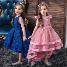 Crianças menina bolo tutu vestido de flor crianças festa de casamento formal vestido para a menina princesa primeiro comunhão traje